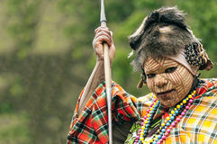 Maasai при его покрашенная сторона Стоковые Изображения RF