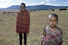 Соберите портрет молодых пастухов Maasai, Кению Стоковое Изображение RF