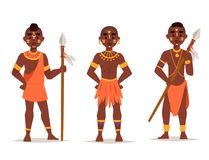 Maasai african people in traditional clothing happy person families vector illustration. Stock Photos