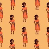 Maasai african people in traditional clothing happy person background seamless pattern families vector illustration. Royalty Free Stock Photo