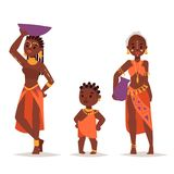 Maasai african people in traditional clothing happy person families vector illustration. Stock Photo