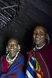 Maasai chief wives in hut Royalty Free Stock Image