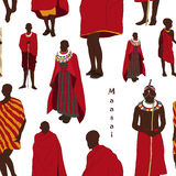 Maasai couple african people pattern Royalty Free Stock Photos