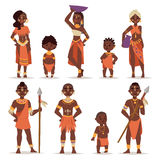 Maasai couple african people in traditional clothing happy person families vector illustration. Royalty Free Stock Photography