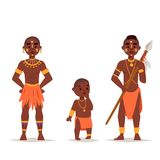 Maasai african people in traditional clothing happy person families vector illustration. Stock Photography