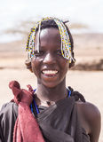 Maasai girl. Smiling Maasai young girl in Arusha region, Tanzania, Africa royalty free stock photo
