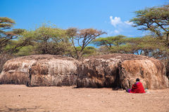 Maasai huts in their village in Tanzania, Africa Royalty Free Stock Image