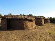 Maasai Huts. Traditional Maasai huts in a Maasai village royalty free stock image