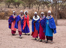 Maasai kvinnor framme av deras by i Tanzania, Afrika Royaltyfria Bilder