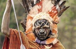 Maasai met zijn geschilderd gezicht Royalty-vrije Stock Afbeelding