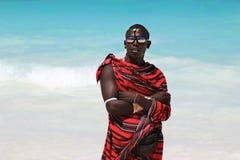 Maasai på stranden Arkivbilder