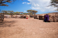 Maasai people in their village in Tanzania, Africa stock photos