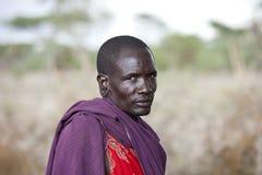 Maasai shephard. In traditional clothing, december 2010, bisil kenya Royalty Free Stock Photo