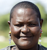 Maasai tribe woman close-up with traditional piercings Royalty Free Stock Photography