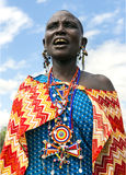 Maasai tribe woman with traditional piercings and beadwork Royalty Free Stock Photos
