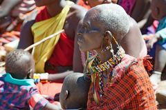 Maasai tribe women with huge ears and traditional beadwork , Tanzania stock image