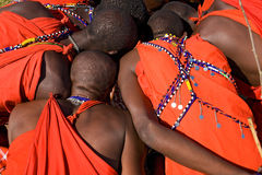 Maasai warrior watch the images. Stock Photo