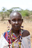 Maasai woman with beadwork Stock Image