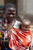 Maasai woman and child royalty free stock image