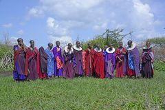 The Maasai women gather together for a dance wearing colorful robes and intricate ceremonial bib-like beaded necklace jewelry Stock Images
