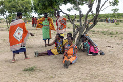 Maasai women relaxing in their village near the Talek River Stock Photography