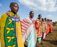 Maasai women together singing ritual songs in traditional dress. Royalty Free Stock Images
