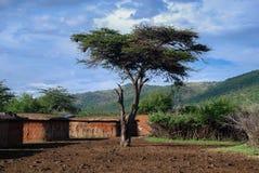 Maasaidorp Maasai Mara National Reserve, nationaal park stock afbeeldingen