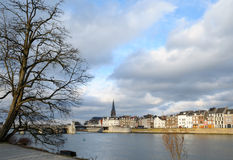 Maastricht. Panorama of Maastricht, Netherlands in winter cloudy day Royalty Free Stock Photography