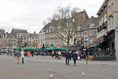 Maastricht, Netherlands - Market Square. MAASTRICHT, NETHERLANDS - DECEMBER 29: In the square there are very good restaurants that are open in Christmas time Stock Photo