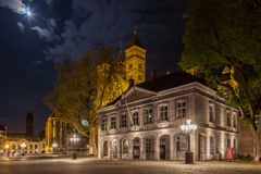 Maastricht by night. The main square - Vrijthof, in Maastricht by night. The towers of the Basilica of Saint Servatius in the background Royalty Free Stock Photo