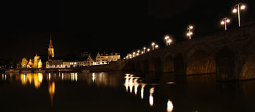 Maastricht at night, in the Netherlands Stock Photos
