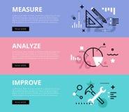 maatregel analyseer verbeter Geplaatste de banners van het Web royalty-vrije illustratie