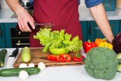 Maatregel nauwkeurig Niets sloopt schotel zoals een dubbel gedeelte van azijn of olie Handen van chef-kok mannelijke gietende sla royalty-vrije stock fotografie