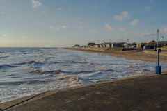 Mablethorpe beach. Evening sea and beach at Mablethorpe,Lincolnshire Royalty Free Stock Image
