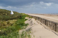 Mablethorpe beach. Beach at Mablethorpe with quirky beach hut known as Jabba The Hut in Lincolnshire Stock Photos