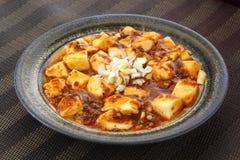 Mabo tofu med tomater soppa och lök på den kinesiska plattan Arkivfoton