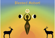 Mabon greeting card. Greeting card of the famous Wiccan sabbath Mabon or Autumnal equinox Royalty Free Stock Photo