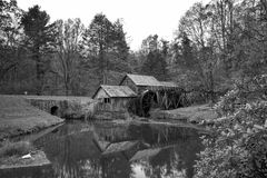 Mabry Grist Mill Blue Ridge Parkway Black and White Royalty Free Stock Photo