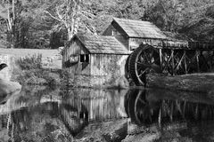 Mabry Mill in Black and White Tones. Black and white, Historic Mabry Mill on the Blue Ridge Parkway in Meadows of Dan, Virginia in the fall stock photo