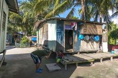 Mabul海岛的,沙巴, Malayia恶劣的木房子 库存图片