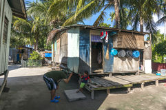 Mabul海岛的,沙巴, Malayia恶劣的木房子 图库摄影