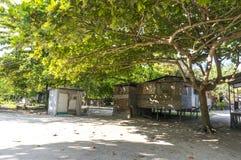 Mabul海岛的,沙巴, Malayia恶劣的木房子 免版税库存图片
