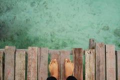 MABUL-EILAND, SABAH 28 FEBRUARI mening van het water van het platform bij Mabul-Eiland Royalty-vrije Stock Afbeelding