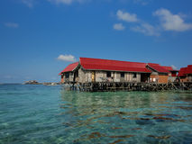 Mabul island at Malaysia. Houses at Mabul island at Malaysia royalty free stock photography
