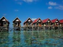 Mabul island at Malaysia. Houses at Mabul island at Malaysia Royalty Free Stock Photos