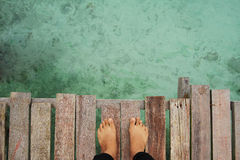 MABUL ISLAND, SABAH. 28 FEBRUARY. view of the water from the platform at Mabul Island Royalty Free Stock Image