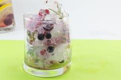 Macédoine de fruits de forêt rouge naturelle avec de la glace, le citron et la FRU découpée en tranches Photographie stock