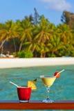 Macédoine de fruits sur la plage des Maldives Photos libres de droits