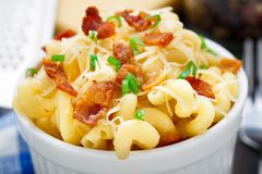 Mac and cheese with bacon Stock Photography