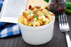 Mac and cheese with bacon. Delicious mac and cheese with bacon in a bowl stock photos